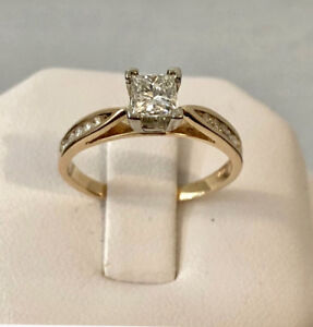 14k gold princess cut diamond engagement ring/Appraised $4,250