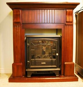 Wood Fireplace Mantle AND electric Fireplace (woodstove look)