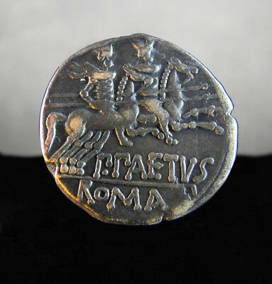 P. Aelius Paetus.Dioscuri riding right, holding spears. Roman Republic Denarius