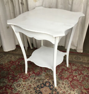 Antique side table, solid wood, newly hand painted