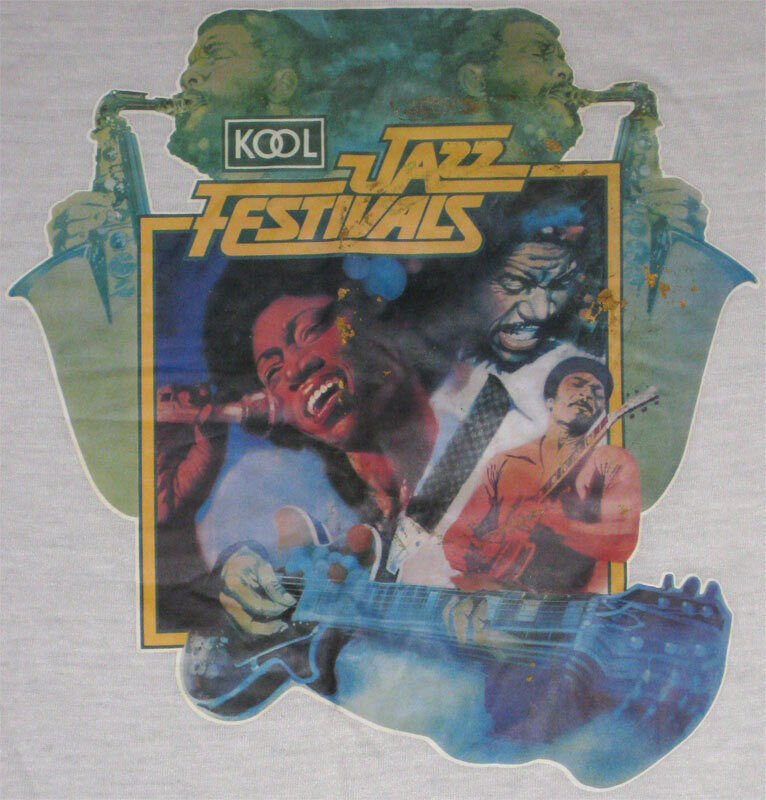 Kool Jazz Festival **RARE** VTG L Ringer Shirt BB King Marvin Gaye Temptations