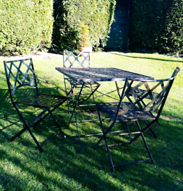 Garden table and chair set wrought iron