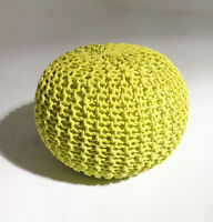 Handmade Round Knitted Design Pouf Ottoman Footstool Many Colors