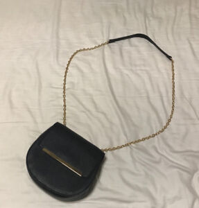 Black Faux Leather Crossbody Bag with Gold Hardware
