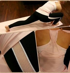☆LULULEMON☆ Second Chance Pant Black White Mesh Size 10 RaRe