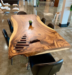 live edge wooden tables, chairs, bar stools