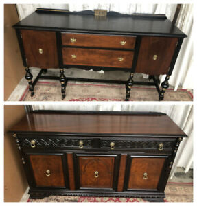 2 unique antique sideboards/buffets, solid wood, refinished