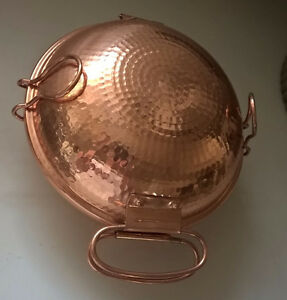 Hand Hammered Copper Pot Vessel Pan Bowl with Hinged Lid