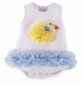 NWT Mud Pie Cottontail Chick All-in-One Dress 9-12m
