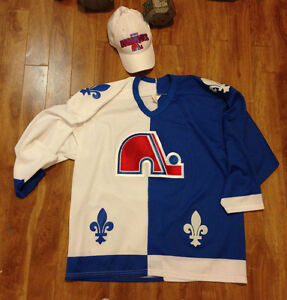 Large Quebec nordiques jersey and hat and rangers jersey