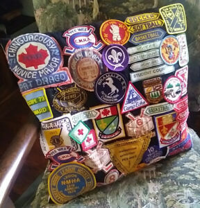 1970s Decorative Cushion with over 40 Patches from High School,