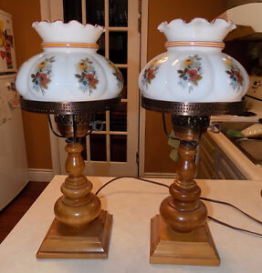 Vintage Wooden Desk Lamps with Hurricane Glass Shades