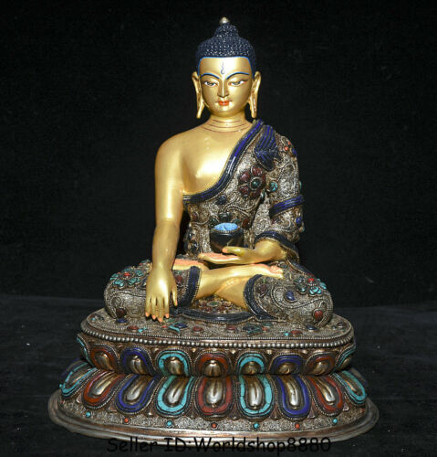 "12"" Old Tibet Bronze Gilt Silver Wire Inlay jewel Gem Shakyamuni Buddha Statue"