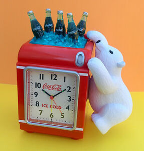 Coca Cola Alarm Clock with Polar Bear (mint, never used)