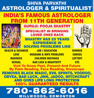 ASTROLOGER AND SPIRITUASLIST  PH:780 862 6016