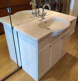 Bathroom vanity sink unit white good condition basin