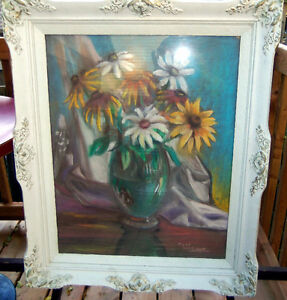 STILL LIFE WITH SUNFLOWERS//ROSS MCKAY/PASTELS AND OIL/ORIGINAL London Ontario image 1