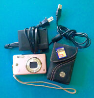 Pink Digital Camera + Case + Memory Card