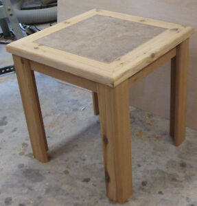 Cedar Table with Ceramic Inlay