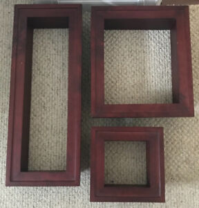 **3 CHERRY COLORED WOOD BOXES FOR WALL DECOR FOR SALE**