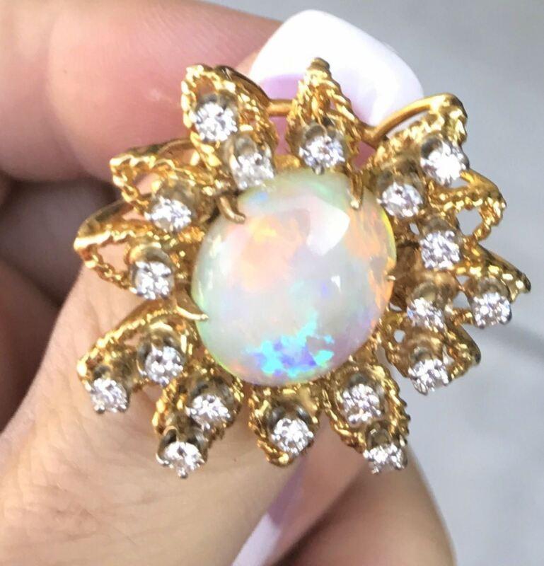 Vintage 14k Gold 6ct Flashing Australian Opal 1ct Diamond Floral Ring 12.5gms