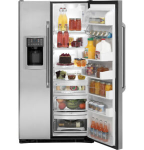 """GE Cafe 36""""Side-by-Side Refrigerator with Dispenser Stainless"""