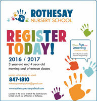 Open House:Rothesay Nursery School 3/4 YR Program Registration