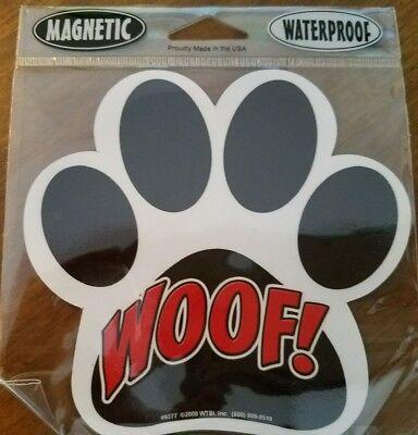 """WOOF!"" Dog Paw Car or Fridge Waterproof Magnet"