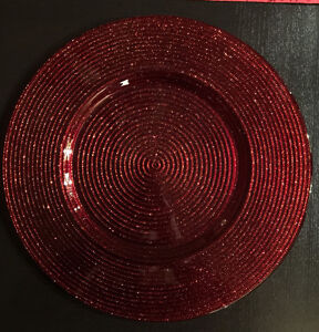 Red glass sparkle chargers