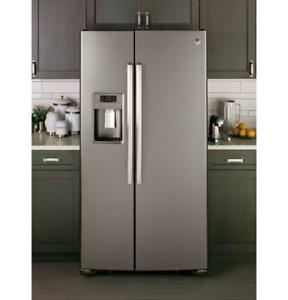 """GE 36"""" side by side fridge, Slate, 25.4 cu.ft"""