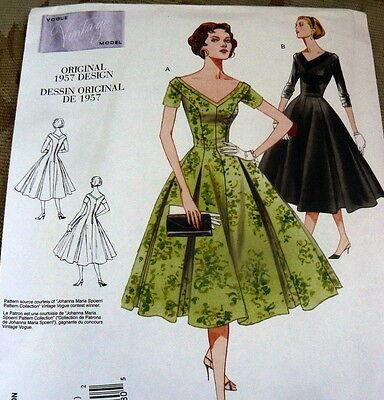1950s VOGUE VINTAGE MODEL DRESS SEWING PATTERN 12-14-16 UC