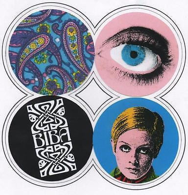 4 DRINKS  COASTERS. Biba, Twiggy, Mod, 60's fashion.