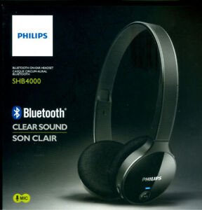 BNIB Philips SHB4000/28 Bluetooth Stereo Headset, Black