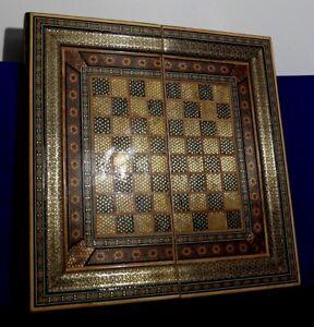 Lg. Syrian  Micro Mosaic Checkers/ Backgammon Set-Consulate Gift