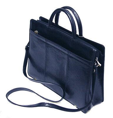 Leder Tasche Tragetasche (Aktentasche Laptoptasche Tragetasche Business Leder marineblau, G-522G)