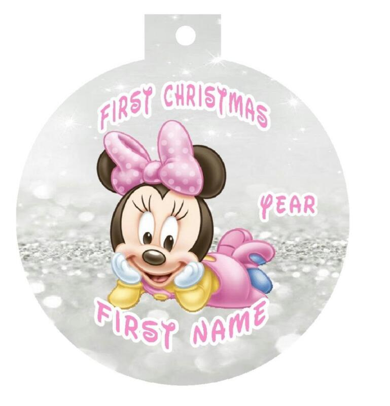 BABY MINNIE MOUSE First Christmas Ornament Personalized Any Name & Message