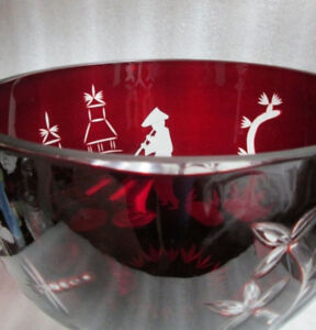 VINTAGE HUGE RUBY RED PIGEON BLOOD CHINOISERIE CUT TO CLEAR CRYS