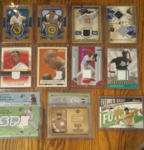 13 lot baseball jersey & bat cards