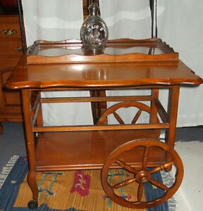 Bar Cart/Tea Wagon/Drop Leaf Table Solid Cherry
