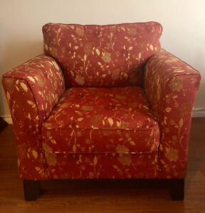 2 Matching Red Floral Chairs For Sale! Arm Chair + Accent Chair