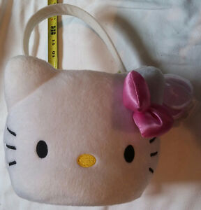 2 x Hello Kitty White Easter Egg Basket with 2 Plastic Eggs NEW