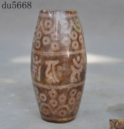 Rare Old Tibet Buddhism Natural Agate Eyes Pray Dzi Tianzhu Beads Amulet Statue