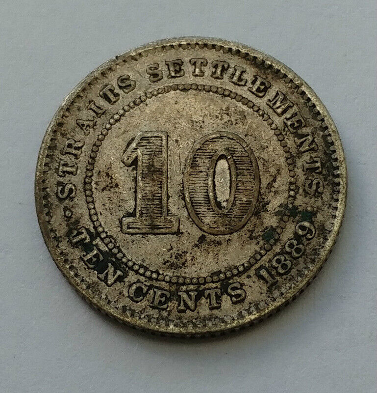 1889 Straits Settlements 10 Cents .800 Silver Coin
