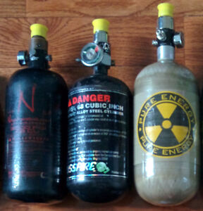 HPA paintball air tanks and cases carbon fiber aluminum steel