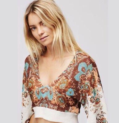 Free People Meet Me At Woodstock Printed Cropped Sweater Medium Retails  148 00