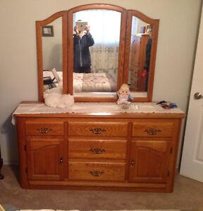 Solid Oak Dresser/Mirror & Amoire & Queen size Bed & Headboard