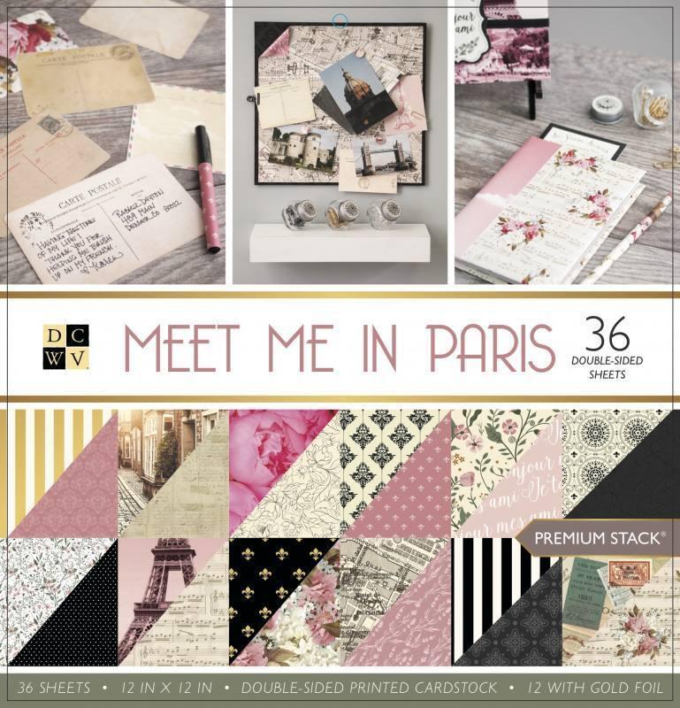 Scrapbook Paper Pad 12 x 12 DCWV Meet me in Paris
