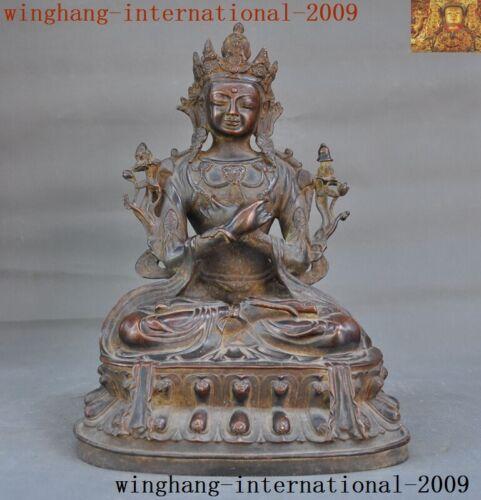 Tibetan Buddhism Pure purple Bronze Tara Kwan-Yin Guanyin goddess Buddha statue