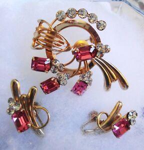 Pink Emerald Cut & Rhinestone Brooch & Earrings Costume Jewelery
