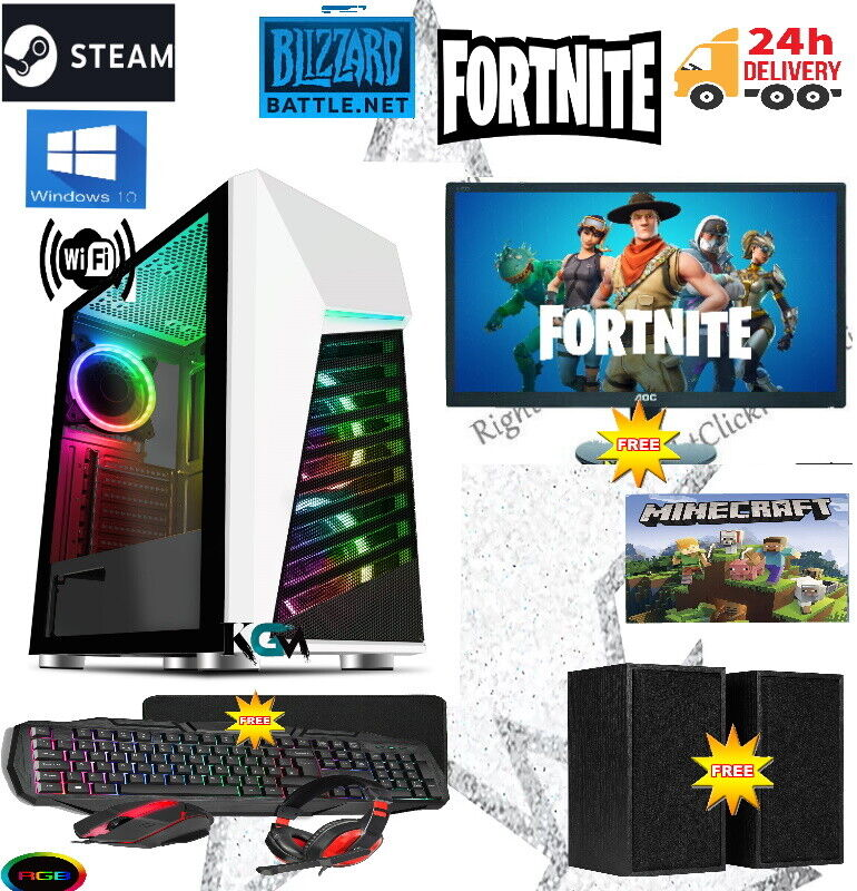 Computer Games - Fast Gaming PC Computer Bundle Intel Quad Core i5 16GB 2TB Windows 10 2GB GT710